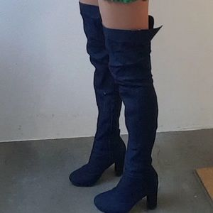 909d5899f96 Nasty Gal Shoes - Nasty Gal denim 70s boho over the knee boots 9